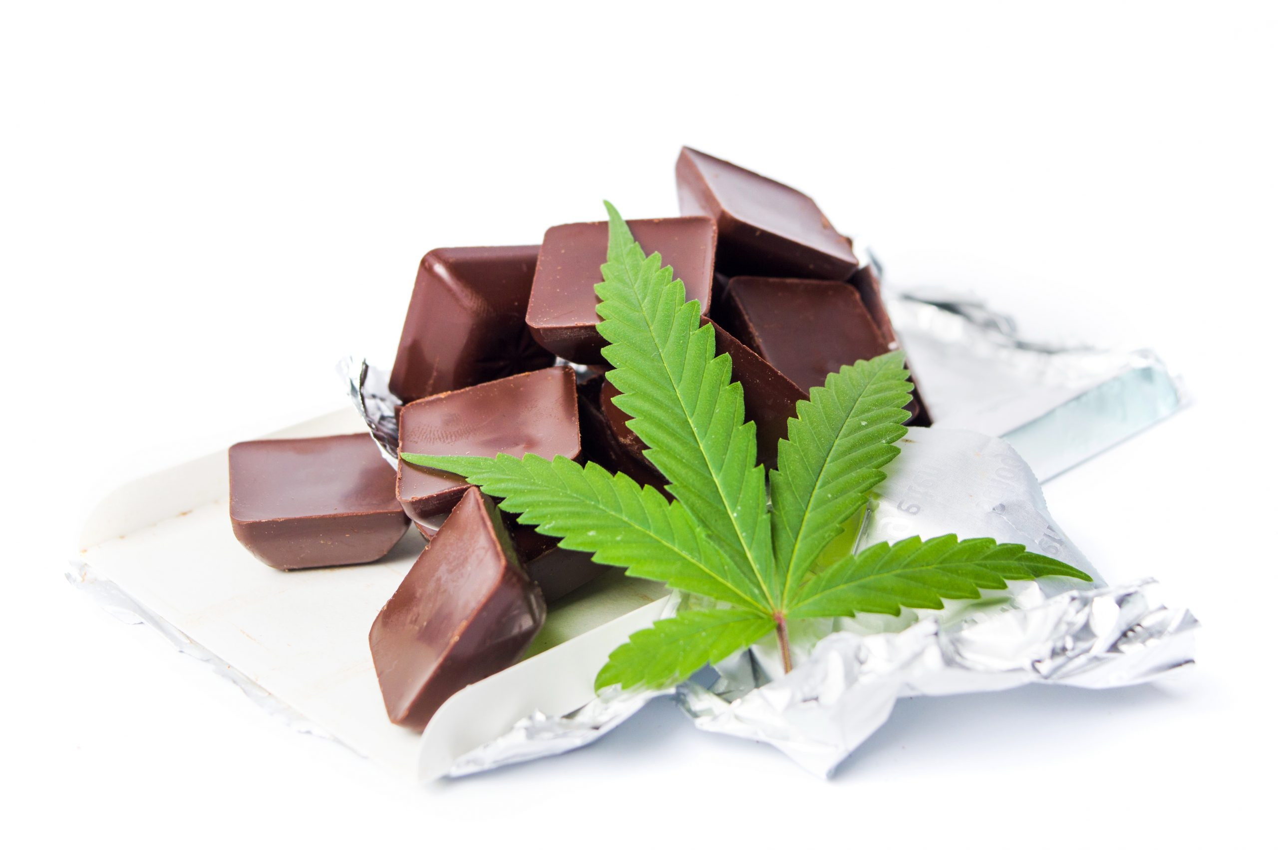 Cannabis edibles chocolate and marijuana leaf